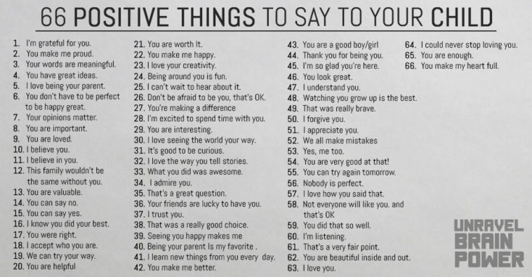 66 Positive Things To Say To Your Child