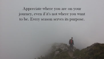 Appreciate Where You Are On Your Journey