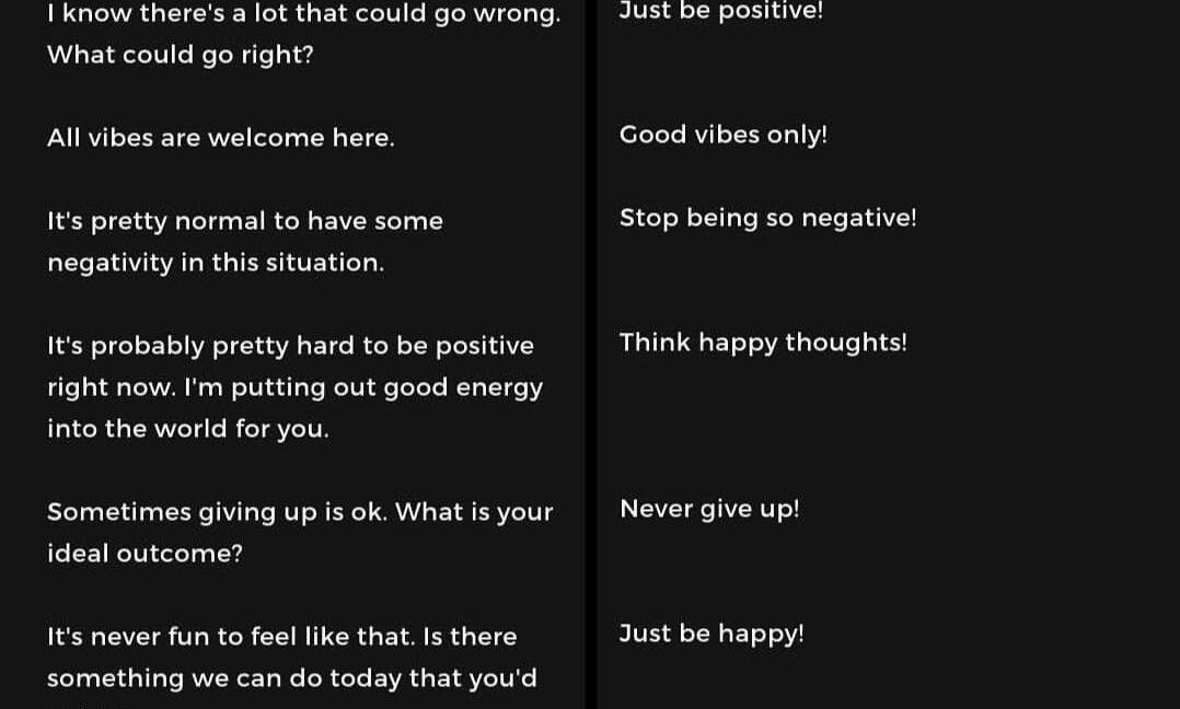 Validation and Hope Vs Toxic Positivity