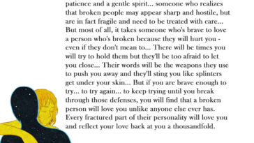 It takes someone special to love a person who's broke